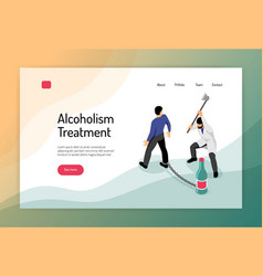 Alcoholism isometric web page vector
