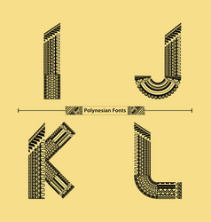 Alphabet polynesian style in a set ijkl vector