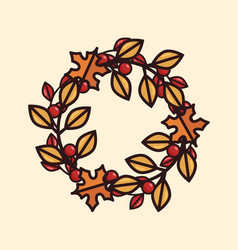 An autumn wreath with leaves and berries vector