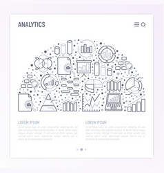 analytics concept in half circle vector image