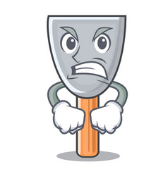 Angry cartoon putty knife in plaster vector