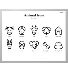 Animal icons line pack vector