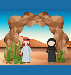 arab people standing in desert vector image
