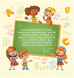back to school kid pointing at a blank template vector image