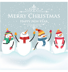 beautiful flat design christmas card with snowman vector image