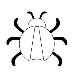 bug virus symbol isolated black and white vector image