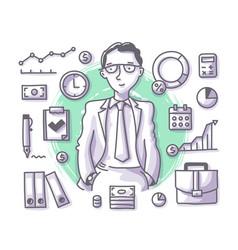 Businessman doodle profession vector
