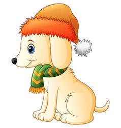 Cartoon dog wearing a scarf and santa hat vector