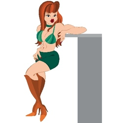 Cartoon girl standing in green shirts and boots vector image