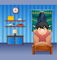Cartoon little boy waking up in a bed vector