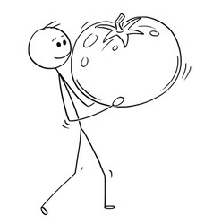 Cartoon of man carrying big ripe tomato fruit vector