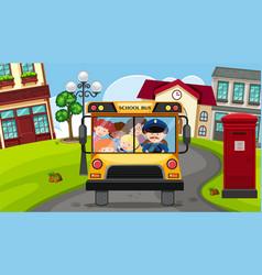 Children riding on schoolbus in neighborhood vector