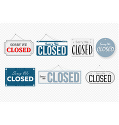 Closed art design banner on door store signboard vector