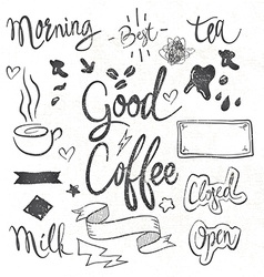 Coffee set of graphic elements and inscriptions vector
