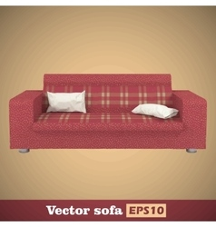 Creative concept red sofa isolated on gold vector