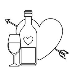 cup glass with bottle champagne and heart isolated vector image