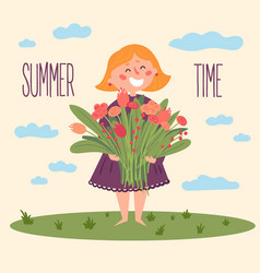 Cute barefoot girl with flowers summer time vector