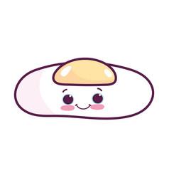 cute food fried egg breakfast kawaii cartoon vector image