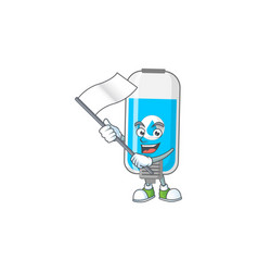 Cute wall hand sanitizer holding white flag vector