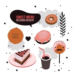 Delicious dessert design elements set Donut Cake vector
