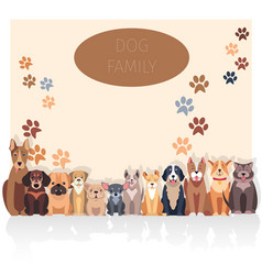 Dog family banner in purebred concept vector