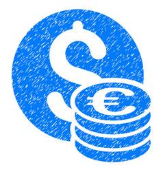 Dollar and euro coins grunge icon vector