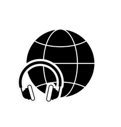 earth globe diagram and headphones icon vector image