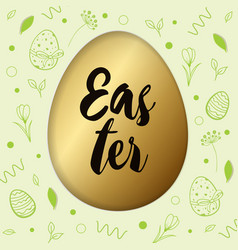 easter card with golden egg vector image