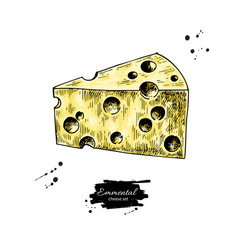 Emmental cheese drawing hand drawn food vector