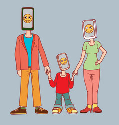 family with gadgets a man a woman and a child vector image
