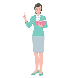 Female teacher with a book vector