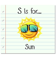 Flashcard letter S is for sun vector