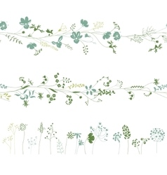 Floral endless pattern brushes made of different vector