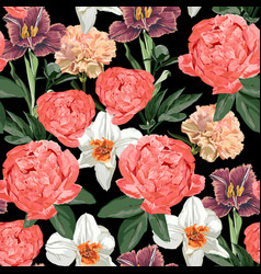 Floral seamless pattern with peony flowers tulips vector