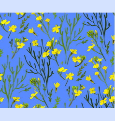 Floral seamless pattern with wild flowers vector
