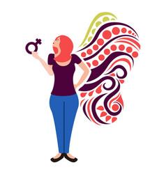 girl holding a female gender symbol women day vector image