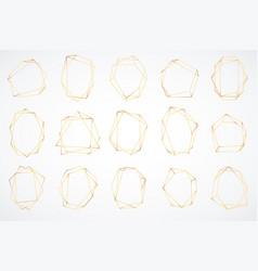 gold polygonal frames elegant geometric vector image