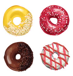 hand drawn tasty donuts vector image