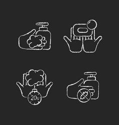Hand hygiene chalk white icons set on dark vector