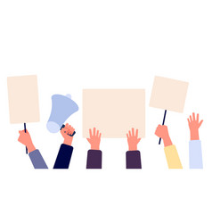 Hands with blank placard people holding protests vector