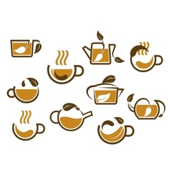 Herbal tea cups and pots icons vector