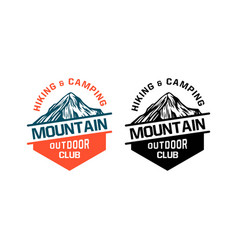hiking and climbing mountain outdoor club badge vector image