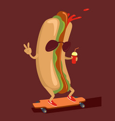 hot dog character vector image