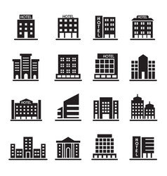 hotel building office tower building icons set vector image