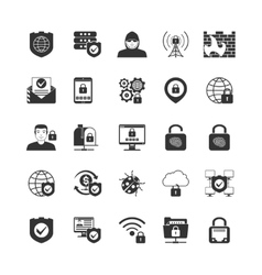 Internet Security Black Icons Set vector image