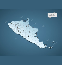 Isometric 3d argentina map concept vector