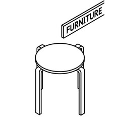 isometric outline furniture 3d line drawn vector image vector image
