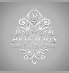 Letter p logo - classic luxurious silver vector