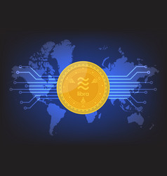libra digital currency with world map background vector image