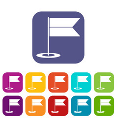 Locator flag icons set vector